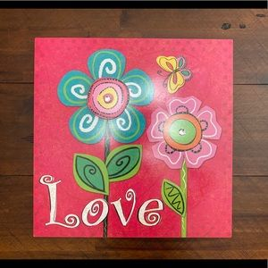 Love Wall Decor. Flowers and Butterfly.